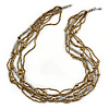 Multistrand Bronze/ Silver Glass Bead Necklace - 90cm L