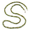 Long Multistrand Twisted Glass Bead Necklace (Mint Green, Olive, White) - 110cm L