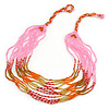 Baby Pink/ Orange/ Red/ Bronze Glass Bead Mulstistrand Necklace - 64cm L