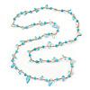 Ligth Blue Ceramic Bead, Pale Blue Glass Nugget Orange Cotton Cord Long Necklace - 96cm L
