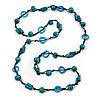 Long Teal Wood, Light Blue Bone Bead Black Cord Necklace - 116cm L