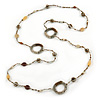 Long Single Strand Glass Bead Necklace (Bronze/ Transparent/ White) - 126cm L