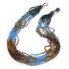 Bronze/ Plum/ Light Blue/ Peacock Small Glass Bead Multistrand Necklace - 48cm L