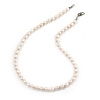 7-8mm White Rice Freshwater Pearl Necklace with Silver Tone Closure - 40cm L