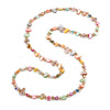 Long Pastel Multicoloured Shell Nugget and Glass Crystal Bead Necklace - 110cm L