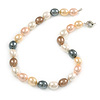15mm Simulated Pastel Oval Glass Pearl Bead Necklace with Silver Tone Spring Ring Closure - 42cm L