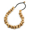 Chunky Natural Wood Bead Necklace with Black Cotton Cord - 76cm L