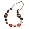 Brown Wood and Shell Bead with Olive Cotton Cord Necklace - 74cm Long