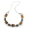 Wood and Resin Bead 'Candy' Necklace with Metallic Silver Cord (Black/ White/ Brown) - 80cm L