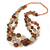 Long Multistrand Orange/ Brown Shell Necklace with Orange Cotton Cords - 84cm L