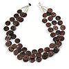 3 Strand Brown Button Shape Wood and Transparent Glass Bead Necklace - 60cm L