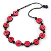 Deep Pink/ Purple Button Shape Wood Bead Black Cotton Cord Necklace - 72cm L
