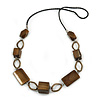 Bronze Brown Wood Bead with Oval Brass Link Black Faux Leather Cord Long Necklace - 90cm L