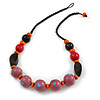 Chunky Wood Bead Cotton Cord Necklace with Scratched Effect (Pink, Orange, Black, Red) - 60cm L