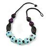 Chunky Wood Bead Cotton Cord Necklace (Mint Blue, Brown, Purple) - 60cm L