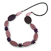 Long Purple Wood Bead with Black Faux Leather Cord Necklace - 88cm L