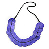 Exquisite Purple Shell Disk Black Faux Leather Cord Necklace - 66cm L