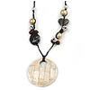 Large Mother Of Pearl Shell Round Pendant with Beaded Cotton Cords - 64cm Long/ 7cm Diameter Pendant