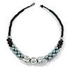 Black/ Grey/ Transparent Acrylic Cluster Bead Necklace - 44cm L