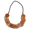 Exquisite Copper Brown Shell Disk Black Faux Leather Cord Necklace - 66cm L