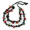 Long Chunky 2 Strand Multicoloured Wood Bead Black Cord Necklace - 86cm L