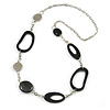 Black and Silver Acrylic Bead Chain Long Necklace - 84cm L