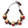 Chunky Square, Round Wood Bead Brown Cord Necklace (Red, Natural, Brown) - 70cm L