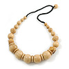 Chunky Natural Wood Bead with Black Cotton Cord Necklace - 62cm L
