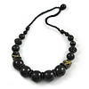 Chunky Black Wood Bead with Black Cotton Cord Necklace - 60cm L