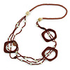 Long Multi-strand Brown/ Cream Ceramic Bead, Acrylic Ring Necklace - 90cm L