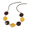 Brown Wood Disk Bead and Yellow Shell Faux Leather Cord Neckalce - 76cm L
