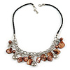 Shell Nugget and Metal Charm with Faux Leather Cord Necklace (Brown, Silver) - 50cm L/ 3cm Ext