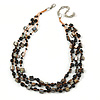 3 Strand Black Ceramic Bead, Dark Grey Sea Shell Nugget Orange Cord Necklace - 42cm L/ 8cm Ext