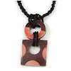 Pink/ Brown Wood Square Pendant with Braided Black Glass Bead Cord - 46cm L/ 9cm Pendant