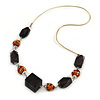 Copper Wire Metal Balls, Black Wood Beads with Gold Cord Necklace - 70cm L