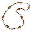 Long Brass Brown Shell Nugget Black Glass Bead Necklace - 110cm L