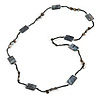 Long Grey Shell Nugget Black Glass Bead Necklace - 110cm L