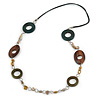 Wood and Shell Cotton Cord Necklace (Green/ Brown/ Olive) - 94cm L