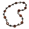 Brown Wood Coin Shape Bead and Grey Shell Nugget Necklace - 74cm L