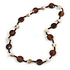 Brown Wood Coin Shape Bead and Antique White Shell Nugget Necklace - 74cm L