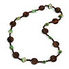 Brown Wood Coin Shape Bead and Green Shell Nugget Necklace - 74cm L