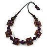 Chunky Square and Round Wood Bead Cotton Cord Necklace (Purple/ Brown) - 64cm L