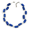 Two Strand Square Blue Glass Bead Silver Tone Wire Necklace - 48cm L/ 5cm Ext