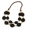 Statement Wood Bead Chunky Necklace (Brown/ Natural) - 72cm L