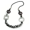 Geometric Black/ Metallic Silver Wood Bead Black Faux Leather Cord Necklace - 72cm L