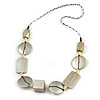 Geometric Wood Bead Acrylic Cord Necklace (Metallic Silver) - 74cm L