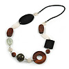 Geometric Wood, Glass, Shell Bead Necklace with Black Faux Leather Cord (Brown/ Black/ White) - 76cm Long