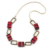 Statement Fuchsia Pink Wood Bead and Bronze Square Metal Link Gold Cord Necklace - 76cm L