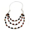 Layered Wood Bead with Metallic Silver Rubber Cord Necklace - 86cm L