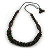 Brown/ Dark Green Wood Bead with Cotton Cord Necklace - 70cm L
